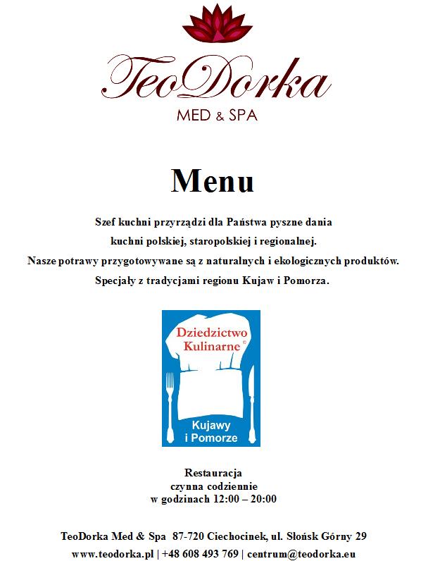 restauracja menu